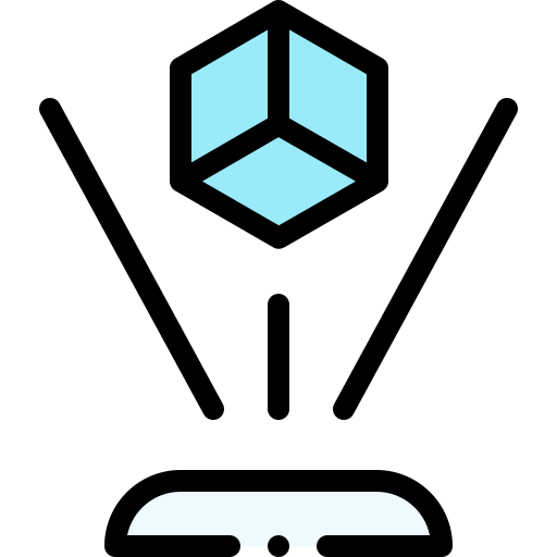icono azul y negro de holograma