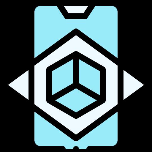 icono azul y negro de realidad aumentada