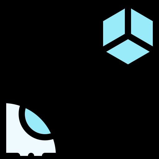 icono azul y negro de realidad virtual