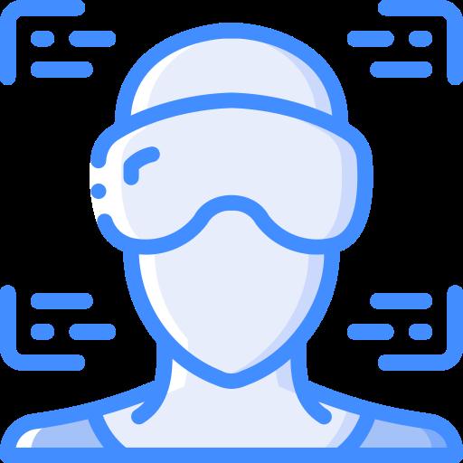 Icono azul realidad virtual